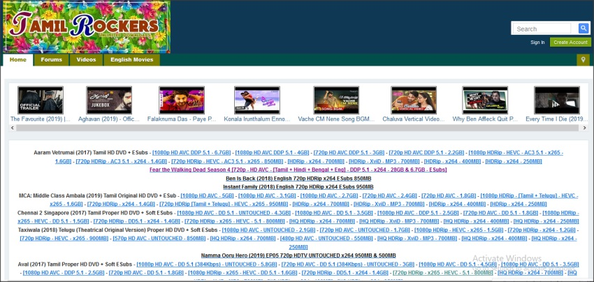 TamilRockers website